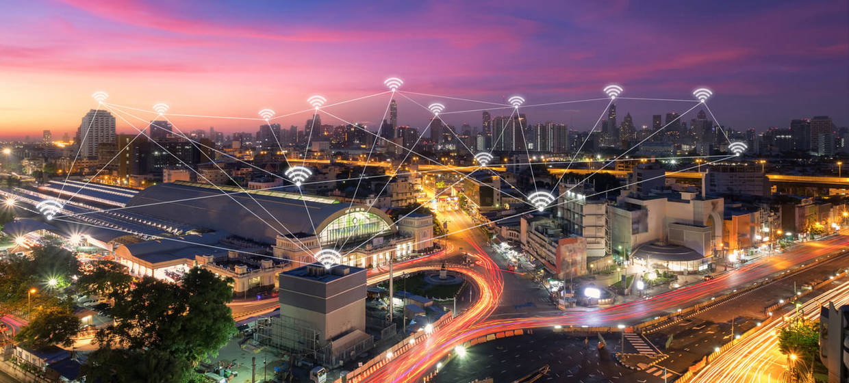 Wireless communication network in Big city concept